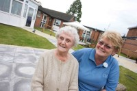 Residents outside care home